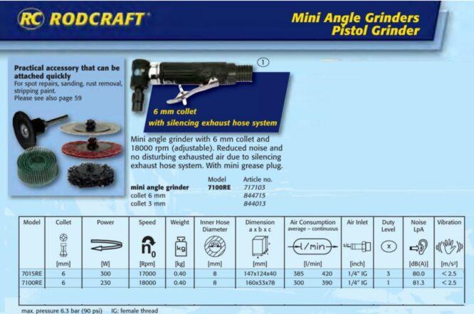 مینی فرز بادی ۹۰ درجه مدل ۷۱۰۰RE Rodcraft آلمان