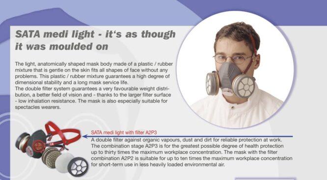 فیلتر ماسک ایمنی مخصوص SATA Medi light Mask